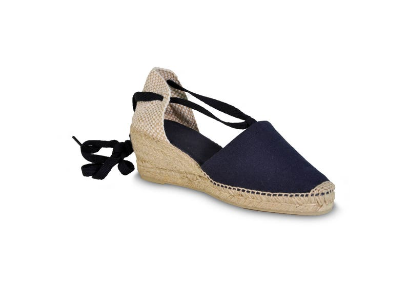b119e9bc2ae Lace up wedge espadrilles navy blue wedges lace-up