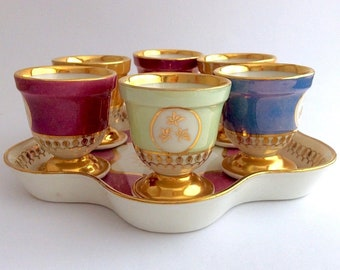 Vintage French SFP Egg Cups and Serving Tray FREE SHIPPING