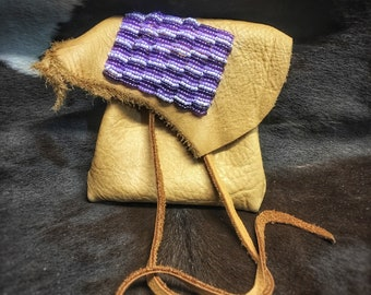 Beaded Leather Medicine Bag
