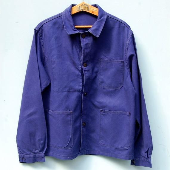 Blue chore jacket, French work jacket for men size