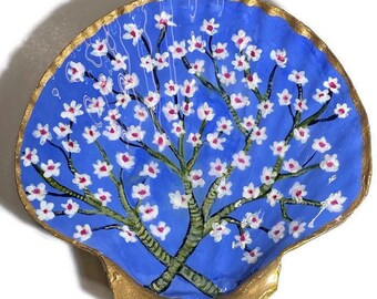 Hand Painted Shell Trinket Dish Ring Dish Gift Idea Van Gogh Almond Blossom Inspired! Chinoiserie Style Grandmillennial Unique Original Gift