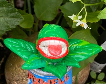 Miniature Audrey 2 Plant   Little Shop of Horrors   Pop culture handmade Clay Figurine. Feed me Seymour