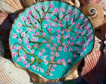 Hand Painted Original Shell Trinket Ring Dish   Van Gogh Almond Blossom Inspired   Hand painted Scallop Shell   Tea Light Holder