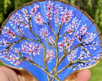 Decorative Hand Painted Scallop Shell Dish Accent Piece   Jewelry Trinket Dish   Artist Original   Gift for Mom   Gift for Her   Ring Dish