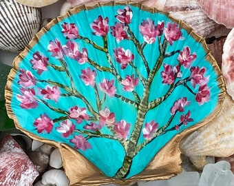 Hand Painted Original Scallop Shell Trinket Dish   Ring Holder   Jewelry Dish   Cherry Blossoms Design GrandMillennial Inspired!