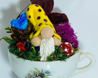 Clay Fantasy Forest Gnome in small Vintage mini Teacup   Handmade   OOAK