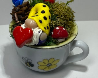 Small Fantasy Forest Clay Gnome in Teacup   Handmade Hand crafted Unique Fairycore