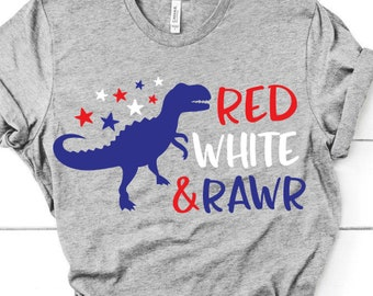 4th of July Boy/'s Grey Short Sleeve T-Shirt Red White Blue Dino Dinosaur