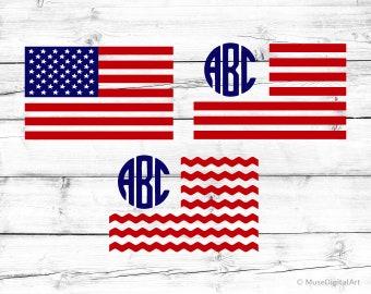 USA Flag Svg American Flag Svg Creative U.S. Flag Monogram Frame Svg Circle Monogram Frame Svg United States Svg for Cricut & Silhouette Png