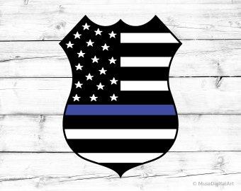 Thin Blue Line American Flag Svg Blue Lives Matter Svg Police Badge Svg Police Officer Svg Police Svg US Flag Svg for Cricut and Silhouette