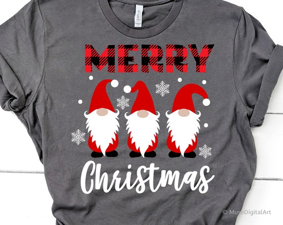 Merry Christmas Svg, Christmas Gnomes Svg, Cute Gnomies Svg, Buffalo Plaid, Kids Funny Christmas Shirt Svg File for Cricut & Silhouette, Png