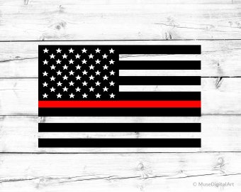 Thin Red Line American Flag Svg Firefighter Svg US Flag Svg Fire Department Svg Fireman Svg USA Flag Svg Files for Cricut and Silhouette Png