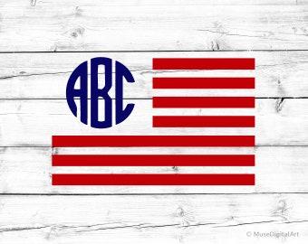 USA Flag Svg U.S. Flag Monogram Frame Svg American Flag Monogram Svg Circle Monogram Frame Svg United States Svg for Cricut & Silhouette Png