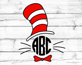 Cat in the Hat Svg Cat in the Hat Monogram Svg Kids Svg School Svg Cat Hat Svg Cat Svg Preschool Svg for Cricut Svg for Silhouette Png File