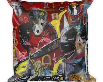 Bird s Lament. Original outsider art. Art Pillow.