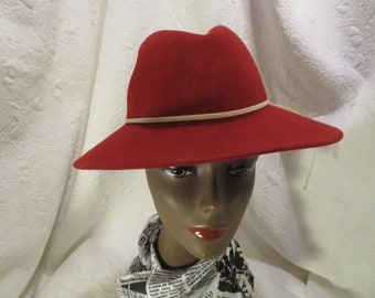 41fd1825 Fun Vintage, Pre-owned, Red 100% Wool, Felt Hat With Thin White Band Tied  At Side, Red Hat Society, Red And White School Spirit Colors