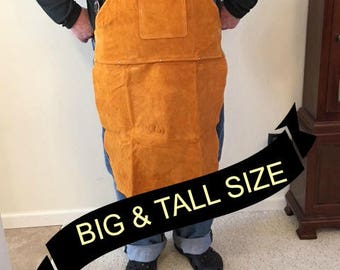 Big Leather Shop Apron /  Safety Apparel For Welding. Blacksmithing, Woodworkig