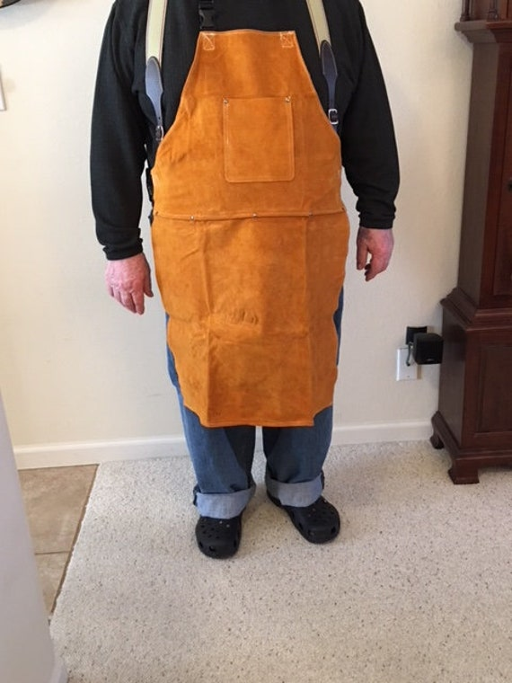 Big Tall Leather Shop Apron Safety Apparel For Welding Etsy