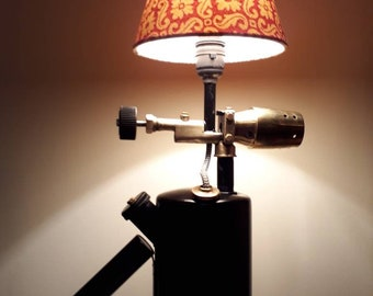 Vintage up-cycled blow torch converted side/table lamp (240v UK 3-pin)