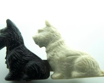 Black and White Celluloid or Similiar Scottie Dog Brooch
