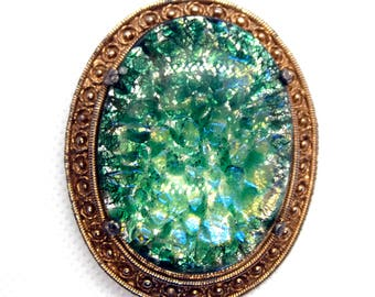 Abalone Style Glass and Gilt Brooch