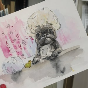 Custom Watercolor Postcard Your Pet on a Postcard 57 Unique Wonderful Gift Just send my your photo! Greeting card Made to Order