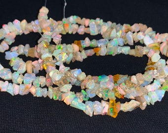"""5 Strands Lot Natural Ethiopian Opal Chips Nuggets Smooth 3-5mm 34/""""inch Beads"""