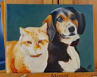 Personalized Pet Portraits: Two in One (Oil on Canvas)
