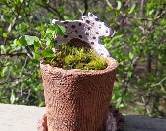 Handcrafted ceramic primative rabbit planter