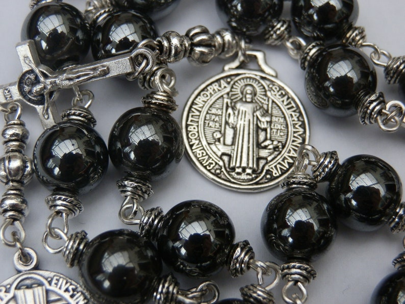 3e2db473330 Saint Benedict prayer Chaplet Catholic Rosary Men's | Etsy