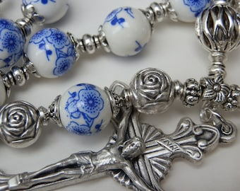 Heavenly five decade Catholic Rosary set, Porcelain floral Rosary Beads, St Bernadette & The Immaculaute Conception Bracelet Pocket Rosary.