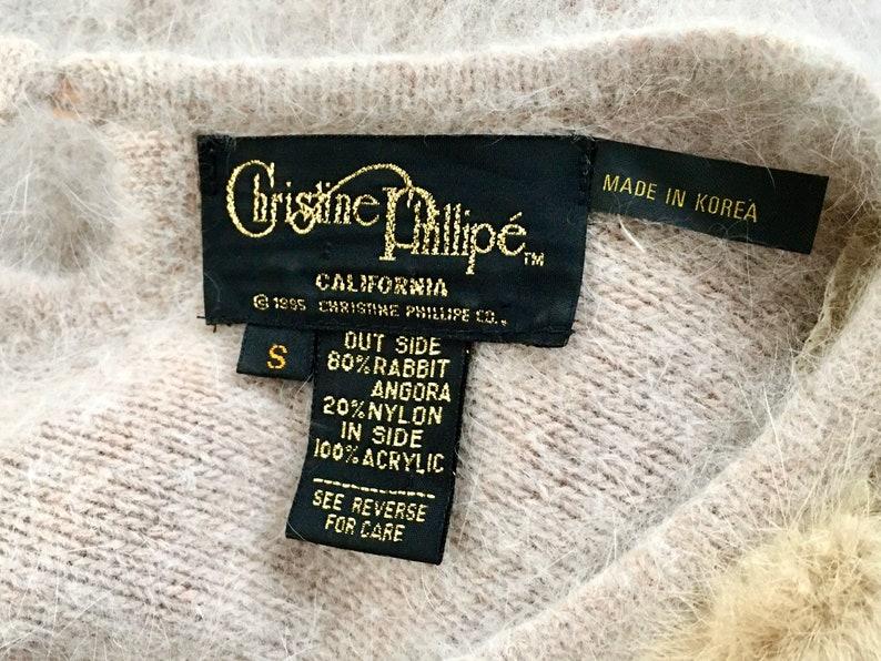 Pearls and Fur\u2022 Stretchy Soft Nylon\u2022 One of a Kind\u2022 Christine Phillipe\u2022 Versatile Fit Amazing Tan Angora Sweater from the 90s\u2022 Braids