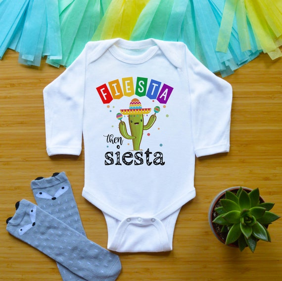 InfantToddler t-shirt or bodysuit says Fiesta then Siesta woth maracas and confetti custom colors