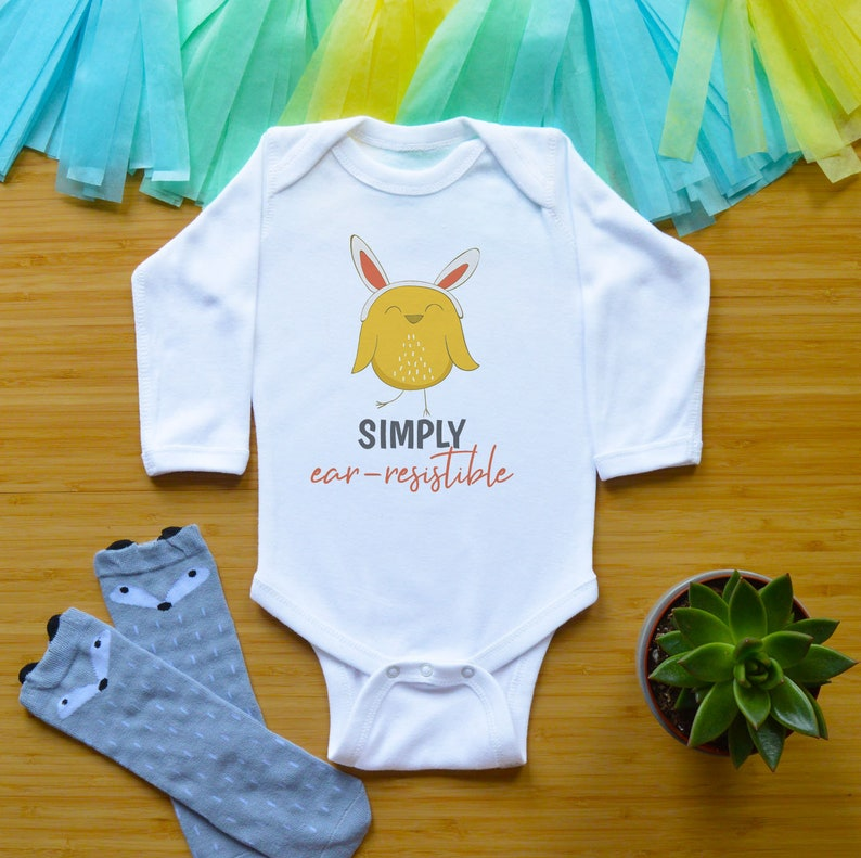 Funny Toddler Shirt Gender Neutral Baby Clothes Newborn Easter Baby Bodysuit Baby Shower Gift Simply Ear Resistible Easter Baby Outfit