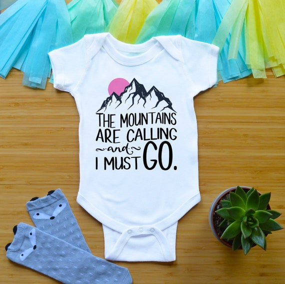 Mountains are Calling I Must Go Baby T-Shirt Toddler Cotton T Shirts Fashion Basic Shirt for 6M-2T Baby
