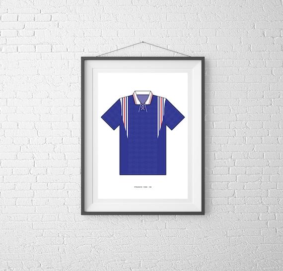 76828df1c62 France print 1996-98 home shirt football poster A2 A3 A4