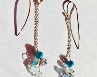 Turquoise, Iolite, Aquamarine, Crystal Sterling Silver Earrings, December