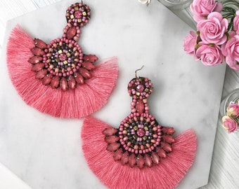 Beaded Coral Fan Tassel Statement Earrings