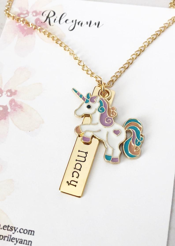 Kids unicorn name necklace  Unicorn bar necklace  image 0