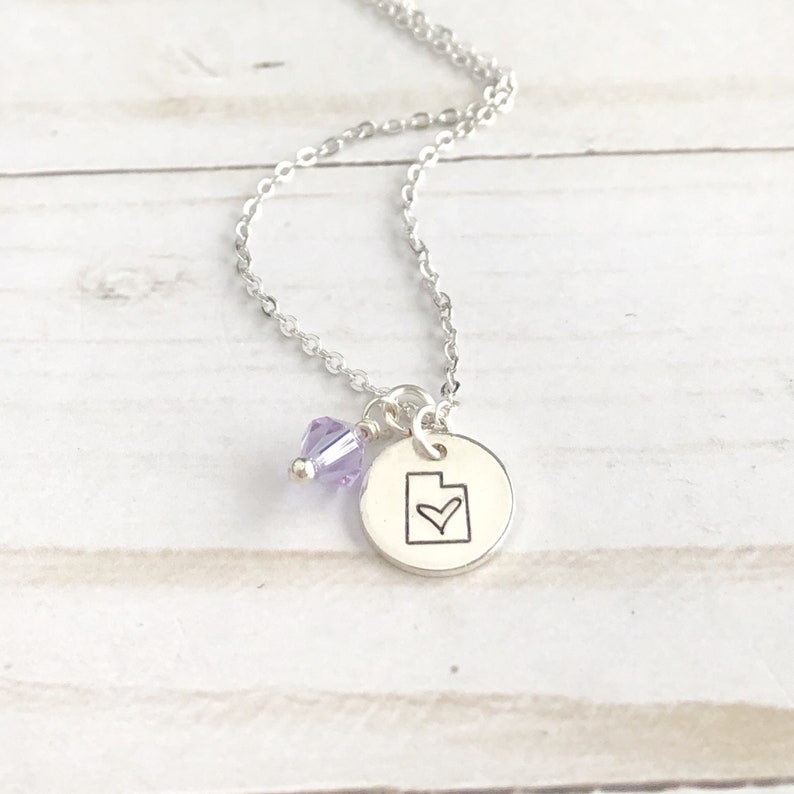 hand stamped utah disc state jewelry Silver Utah necklace with a birthstone utah state pendant Utah birthstone necklace personalized