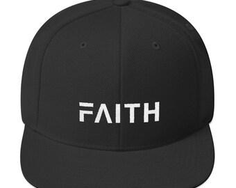 46cc4cb4ad3b16 Faith Snapback Hat with Flat Brim | Christian Hats | Flat Bill Hat | Mens &  Womens | Inspirational
