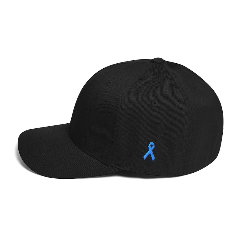 2735d2a2 Prostate Cancer Awareness Fitted Hat with Ribbon on the Side | Awareness  Ribbon | Survivor Gift