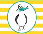 CHEEKY SEAGULL hard enamel pin badge - by Catherine Redgate - Scottish bird fun humour fish sea ocean coast Waters Edge