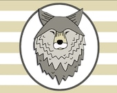 LONE WOLF hard enamel pin badge - by Catherine Redgate - journey travel companion mental health support adventure dog face head