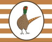 PHEASANT windswept hard enamel pin badge - by Catherine Redgate - Scottish game bird fun humour windy under the weather