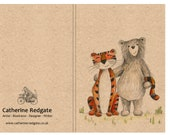 Bear & Tiger - A6 ECO Jotter Artist Sketchpad Notebook - plain inside- by Catherine Redgate