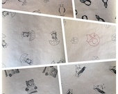 Hand-stamped WRAPPING PAPER with gift TAGS - 100% recycled - various designs- by Catherine Redgate
