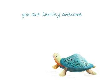 Turtley AWESOME Greeting Card blank Catherine Redgate turtle tortoise cute valentines valentine love couple male boyfriend girlfriend pun