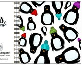 Penguin Parade- spiral-bound square notebook - plain inside- by Catherine Redgate