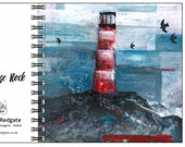 Lighthouse Rock spiral-bound square notebook - plain inside- by Catherine Redgate